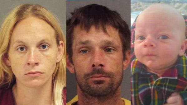 Chance Walsh and his parents, 32-year-old Kristen Bury and 36-year-old Joseph Walsh. Sarasota County (FL) Sheriff's Office photos