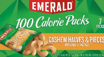 Emerald® 100 Calorie Pack Roasted & Salted Cashew Halves & Pieces_134465