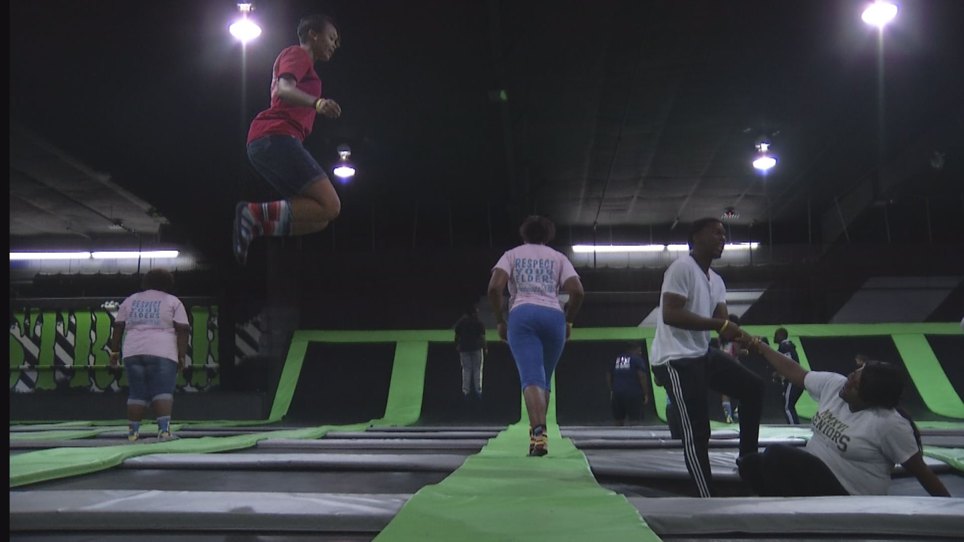 Students from Barnwell High School (S.C.) jump on trampolines at AirStrike in Augusta - May 31, 2016_151203