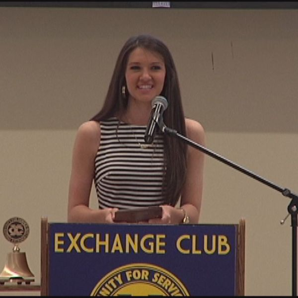 Karson Pennington of Lakeside High School ccepts Augusta Exchange Club's _Youth Of the Year_ Award - May 12, 2016_146070