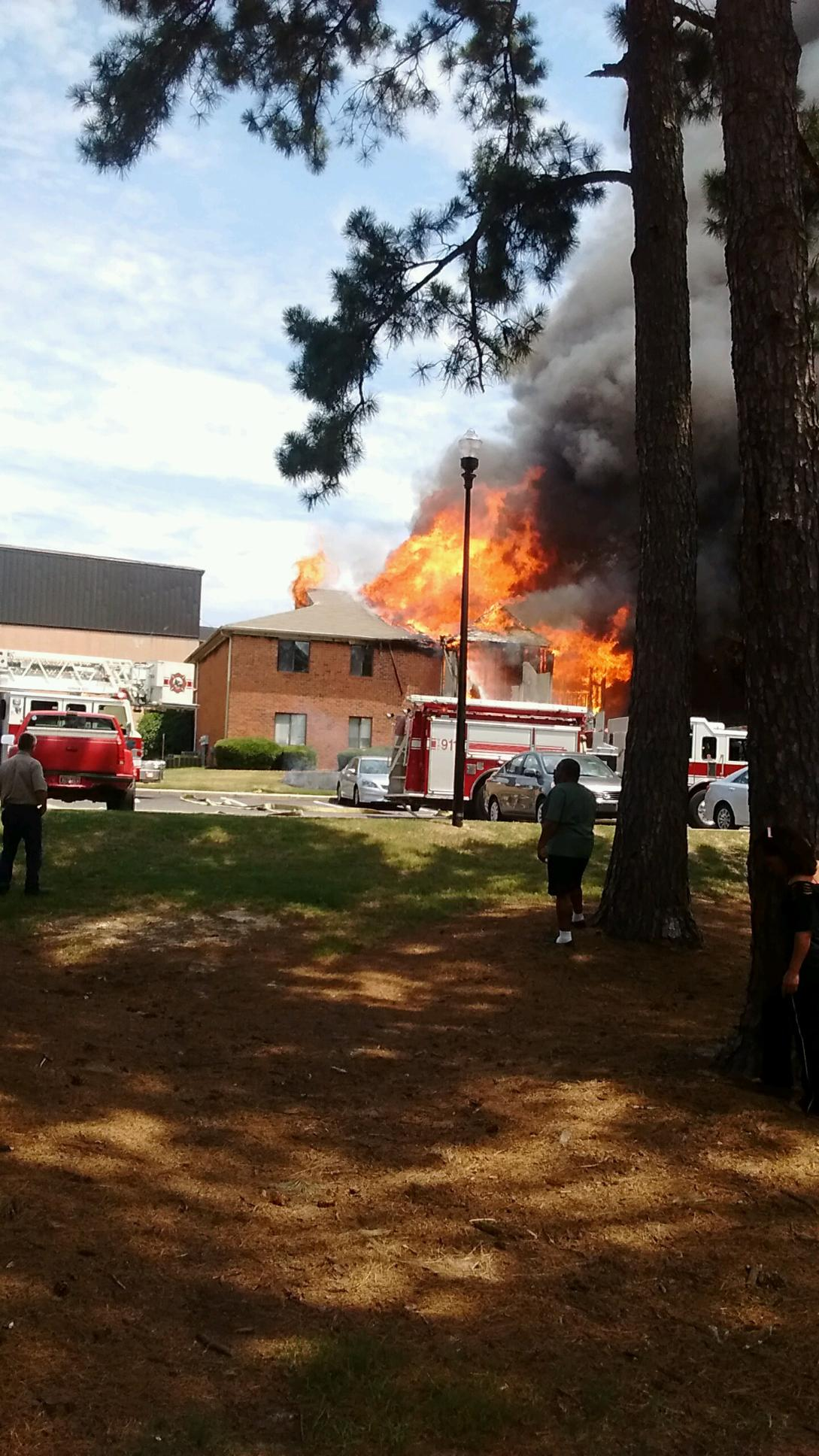 A four-unit apartment building at Wylds Woods Apartments off Wrightsboro Rd. went up in flames.