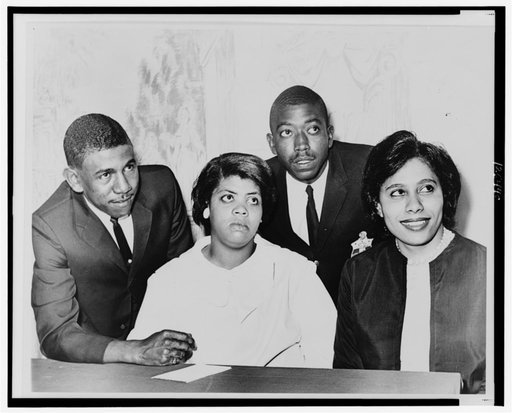 Harry Briggs Jr., far left, was one of the plaintiffs in a lawsuit that ended school segregation._171731