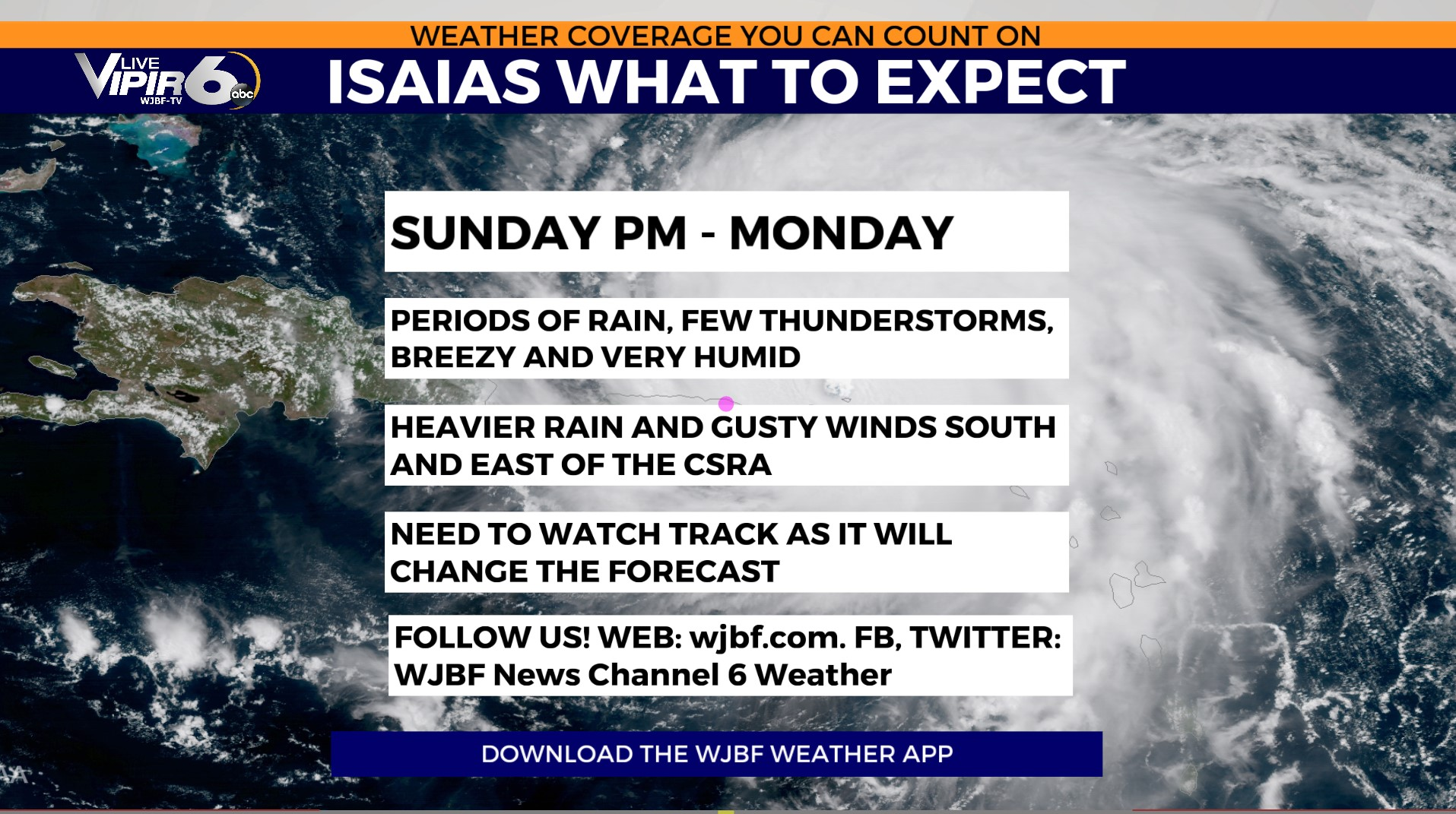 Hurricane Tracker What To Expect From Hurricane Isaias Wjbf